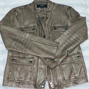 ALFANI Faux/Vegan Leather Casual Jacket